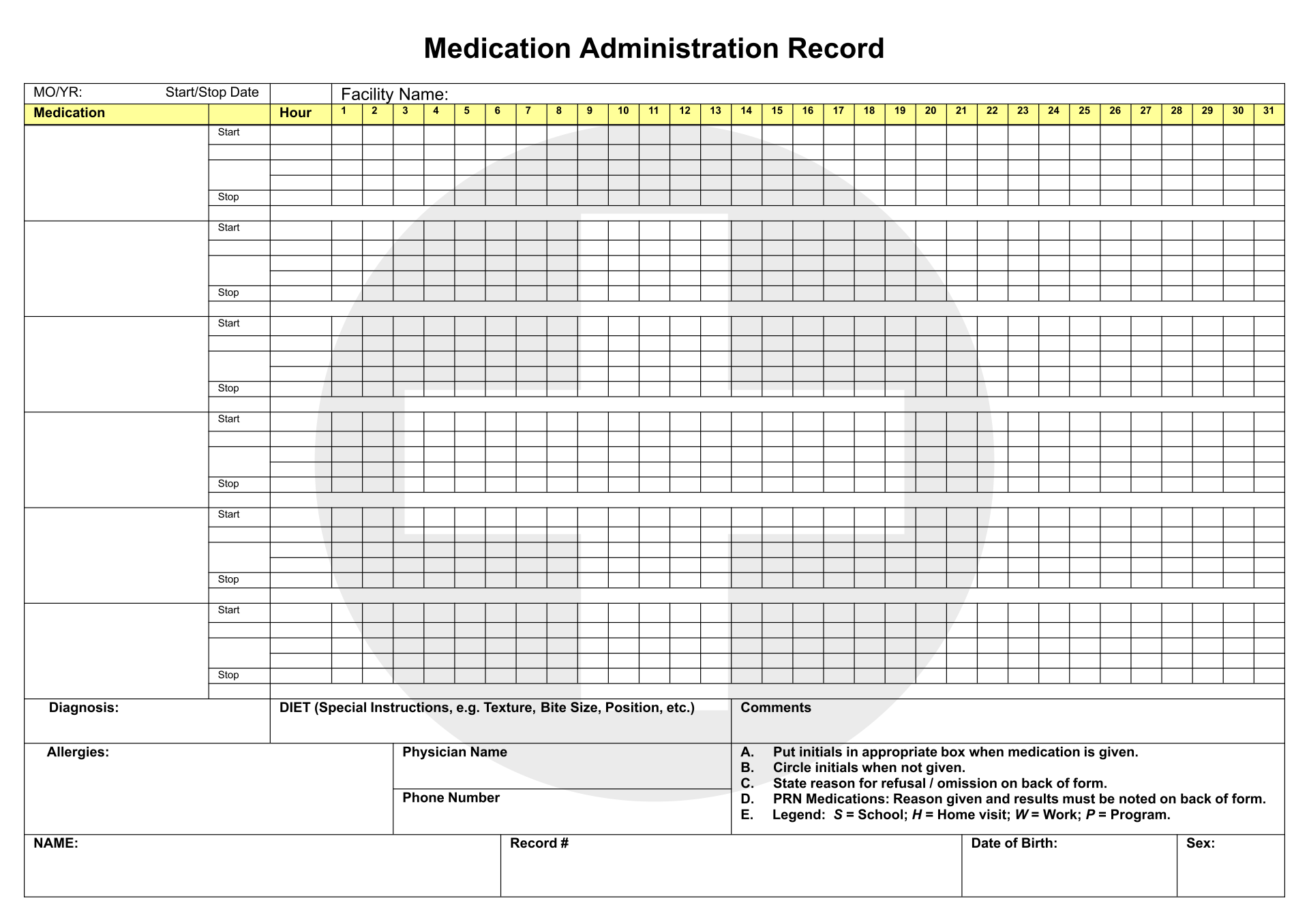Printable monthly medication log chart pictures to pin on for Mar template nursing