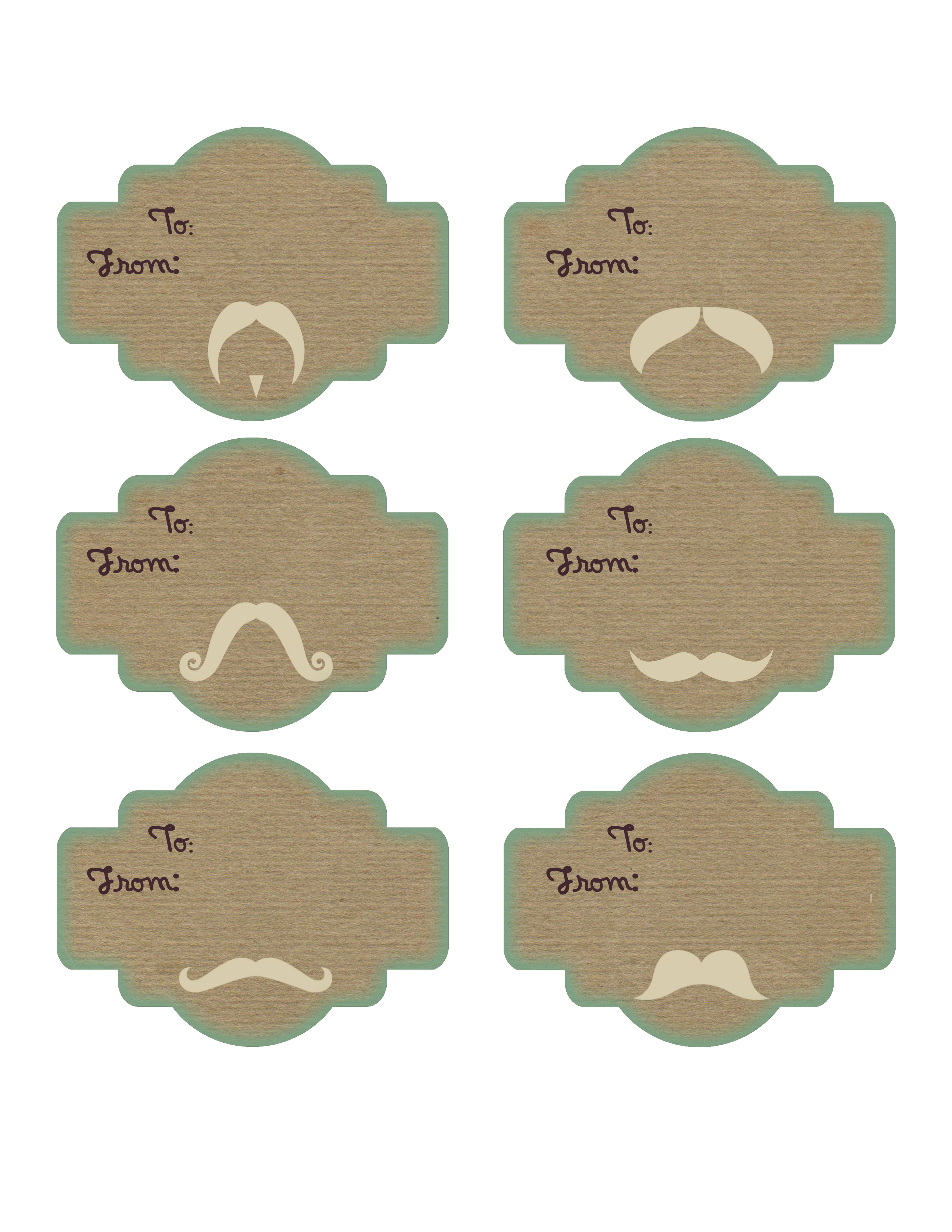 8 Images of Mustache Printable Gift Tags