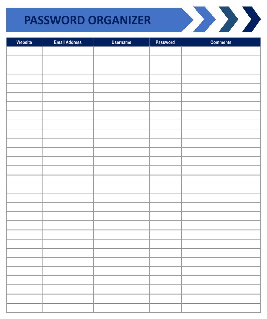 Free Printable Password Organizer Worksheets