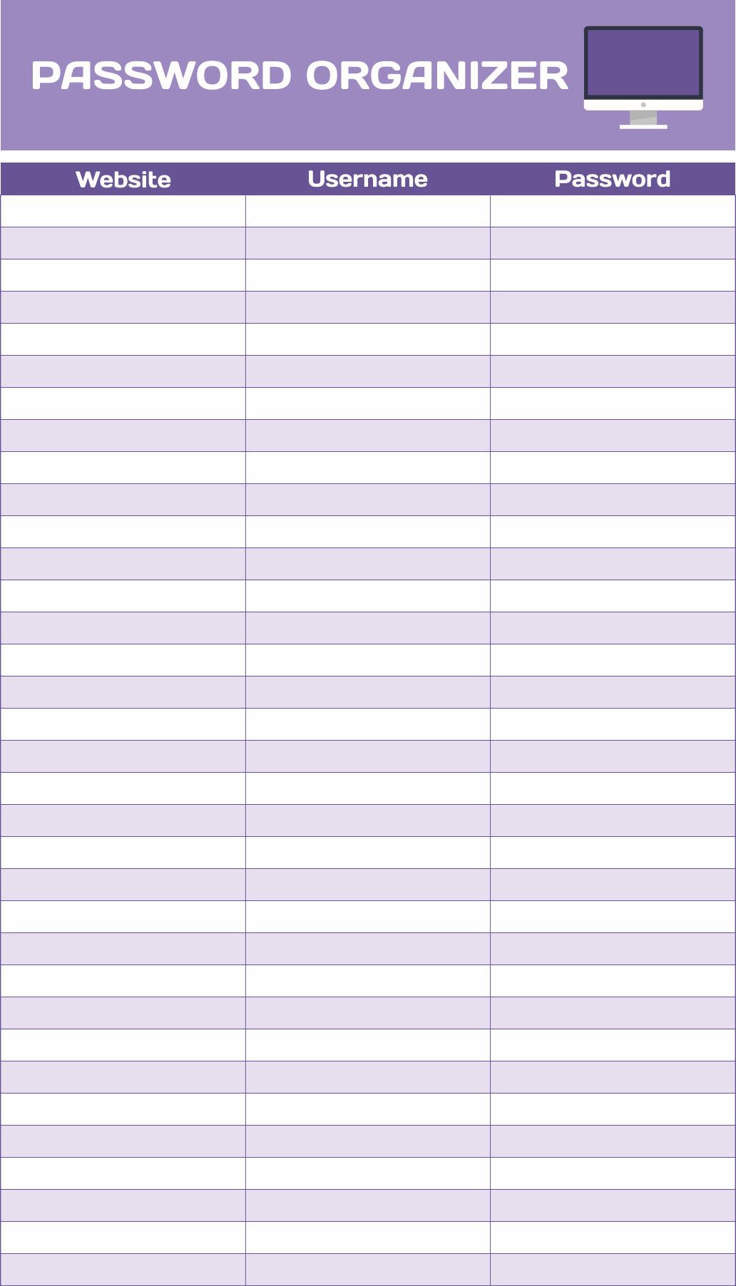 Printable Password Organizer Template