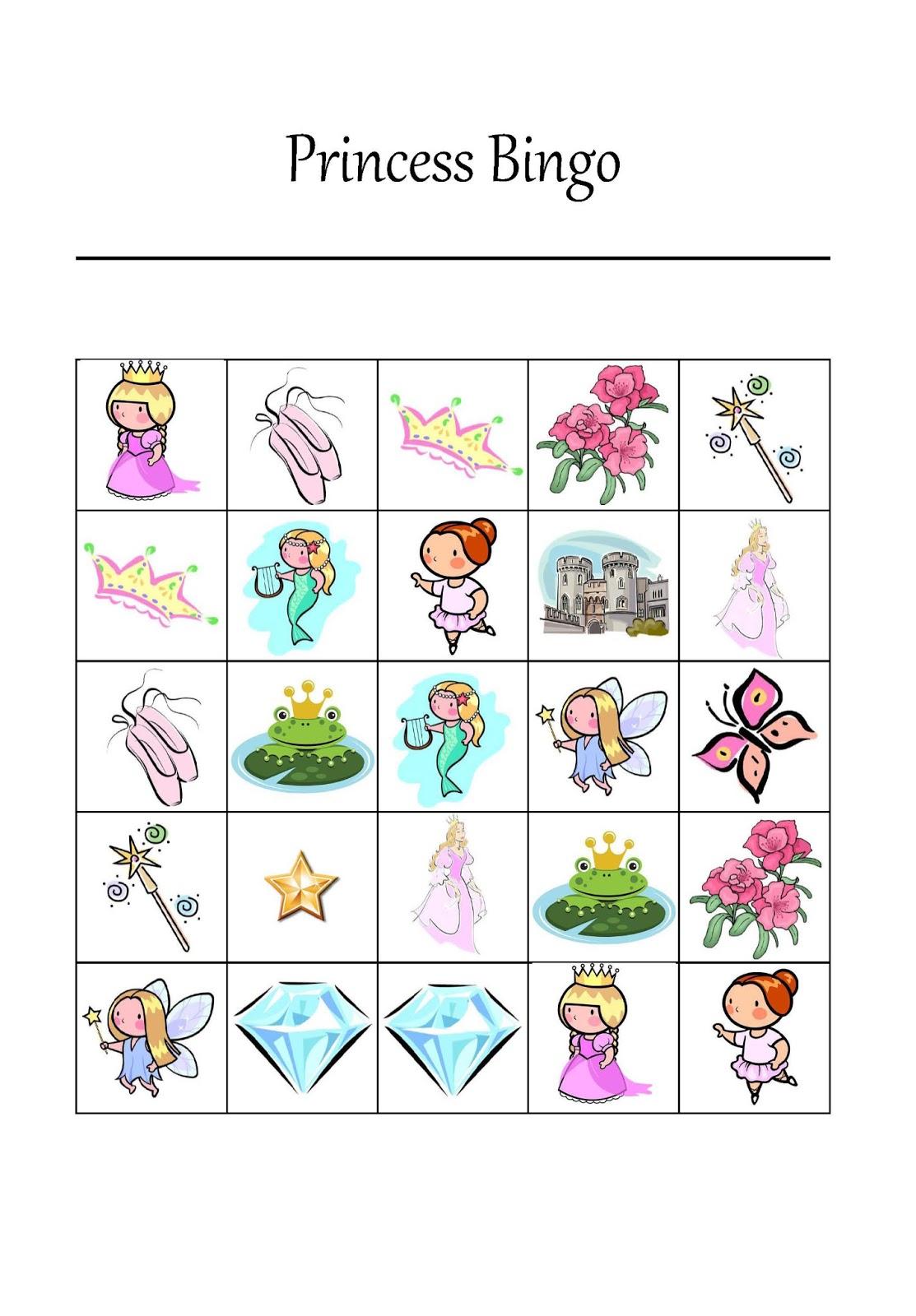 4 Images of Free Printable Princess Bingo Cards