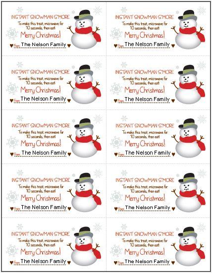 Free Printable Snowman Soup Gift Tags