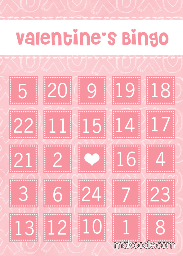 8 Images of Free Printable Valentine's Day Bingo Cards