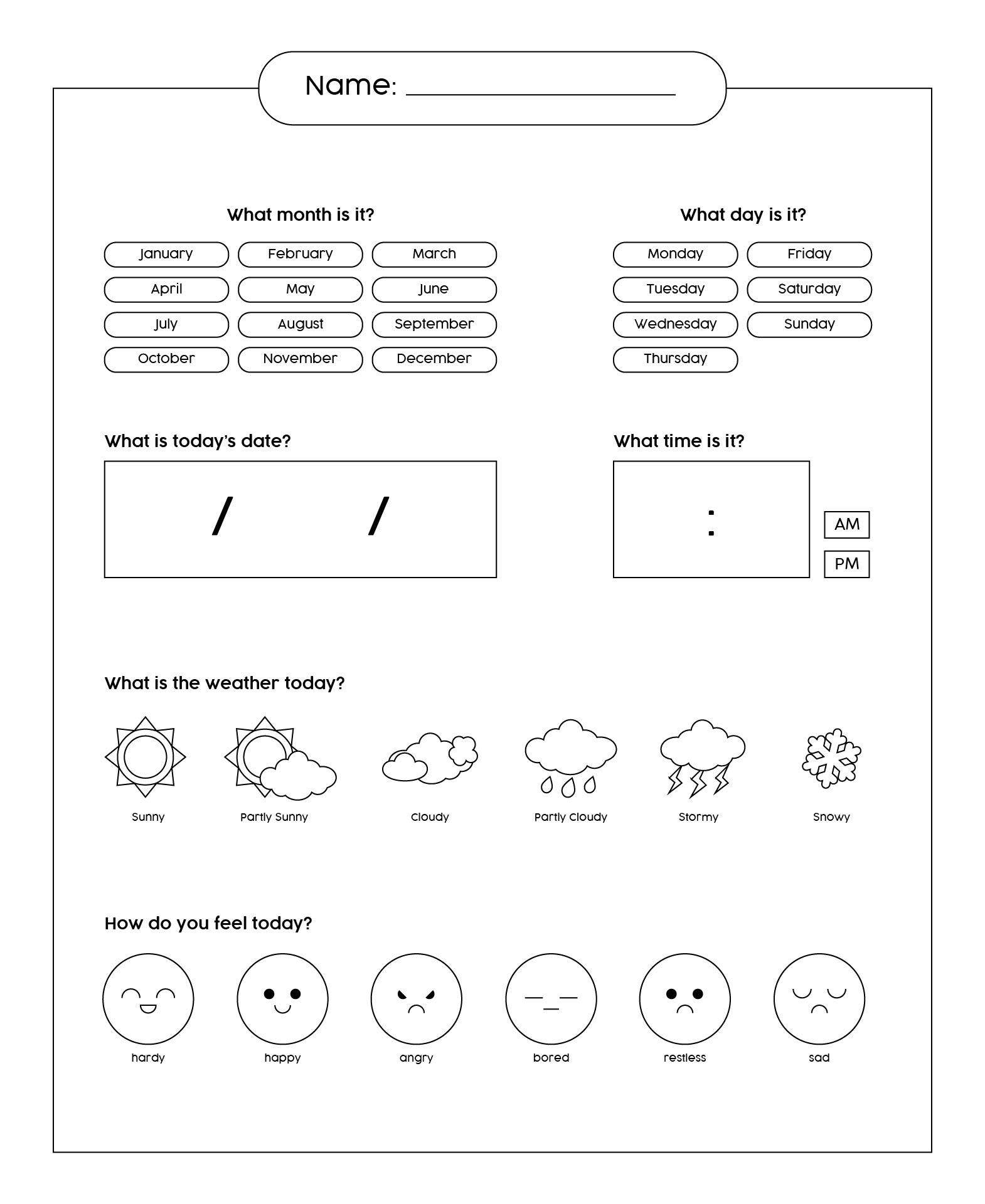 8 Images of Kindergarten Data Center Log Printable
