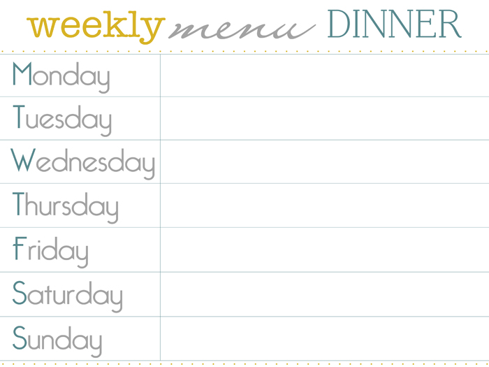 8 best images of dinner menu planner template printable for Monthly dinner menu template