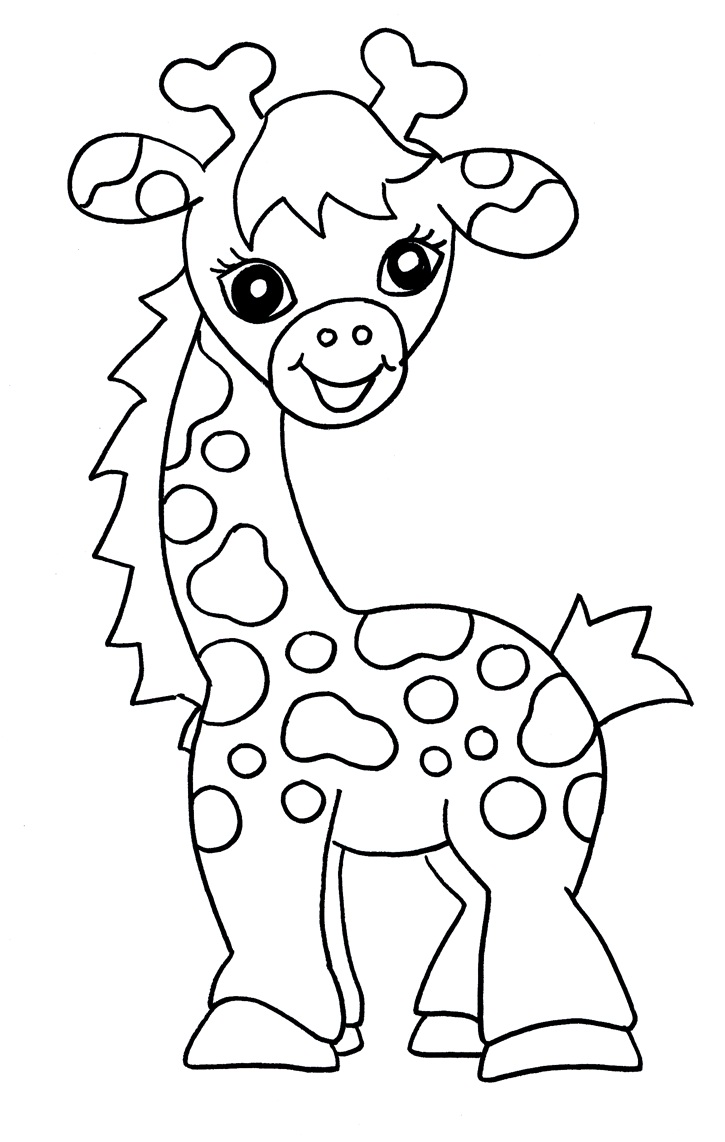 6 Images of Giraffe Cute Free Printable Coloring Pages