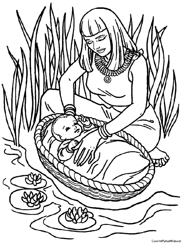 4 Images of Baby Moses Coloring Page Printable