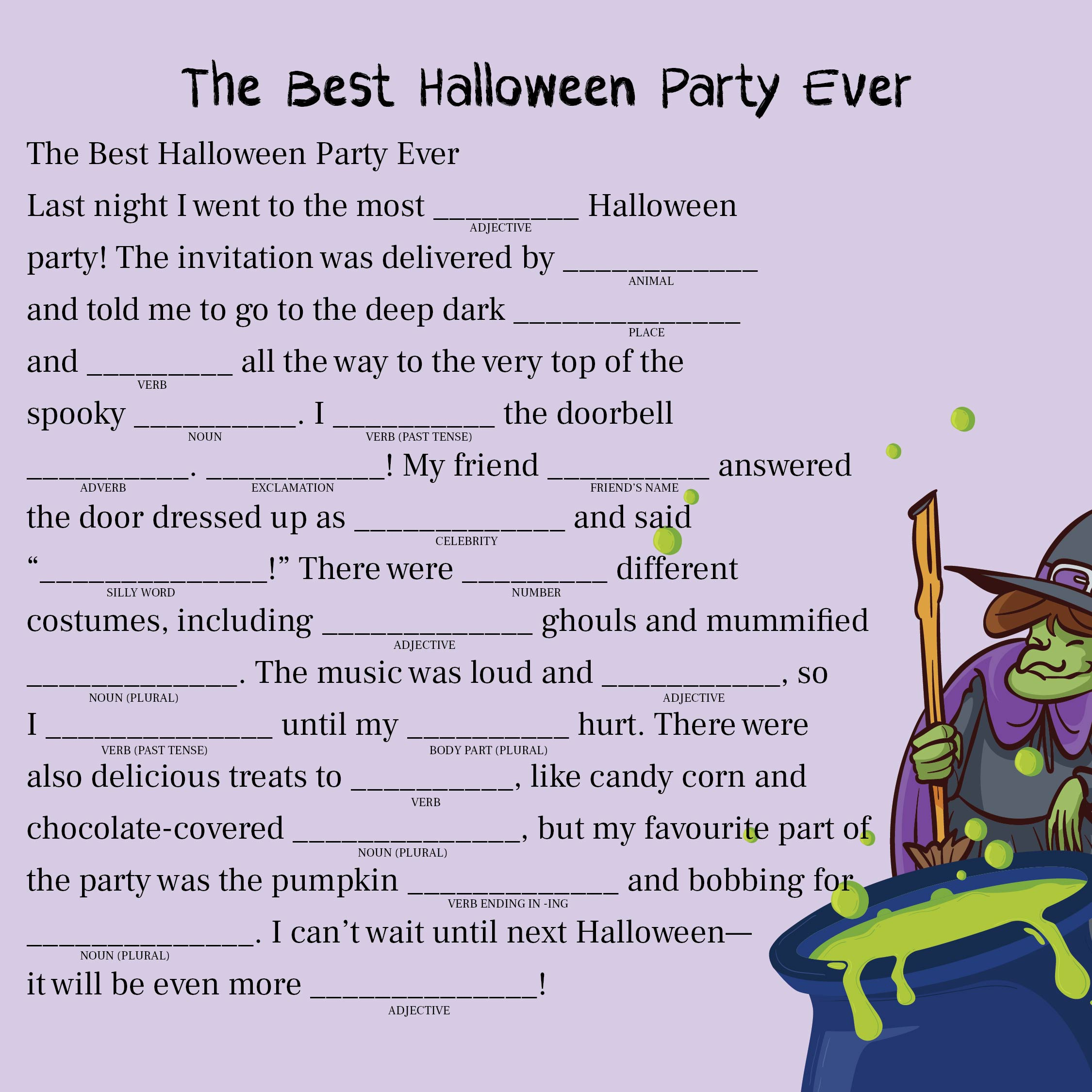 4 Images of Adult Halloween Mad Libs Printable
