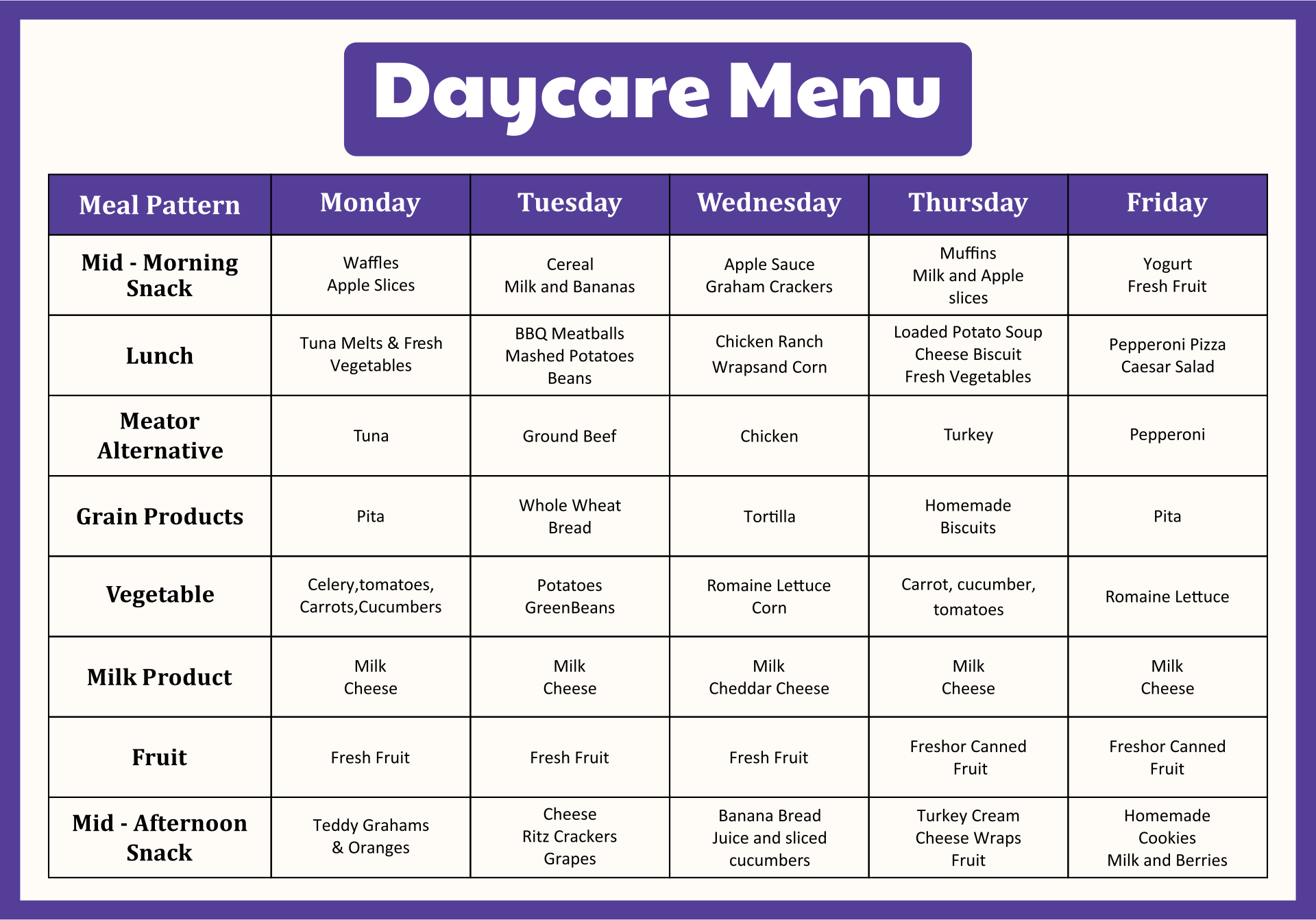 In Home Day Care Lunch Menu Samples