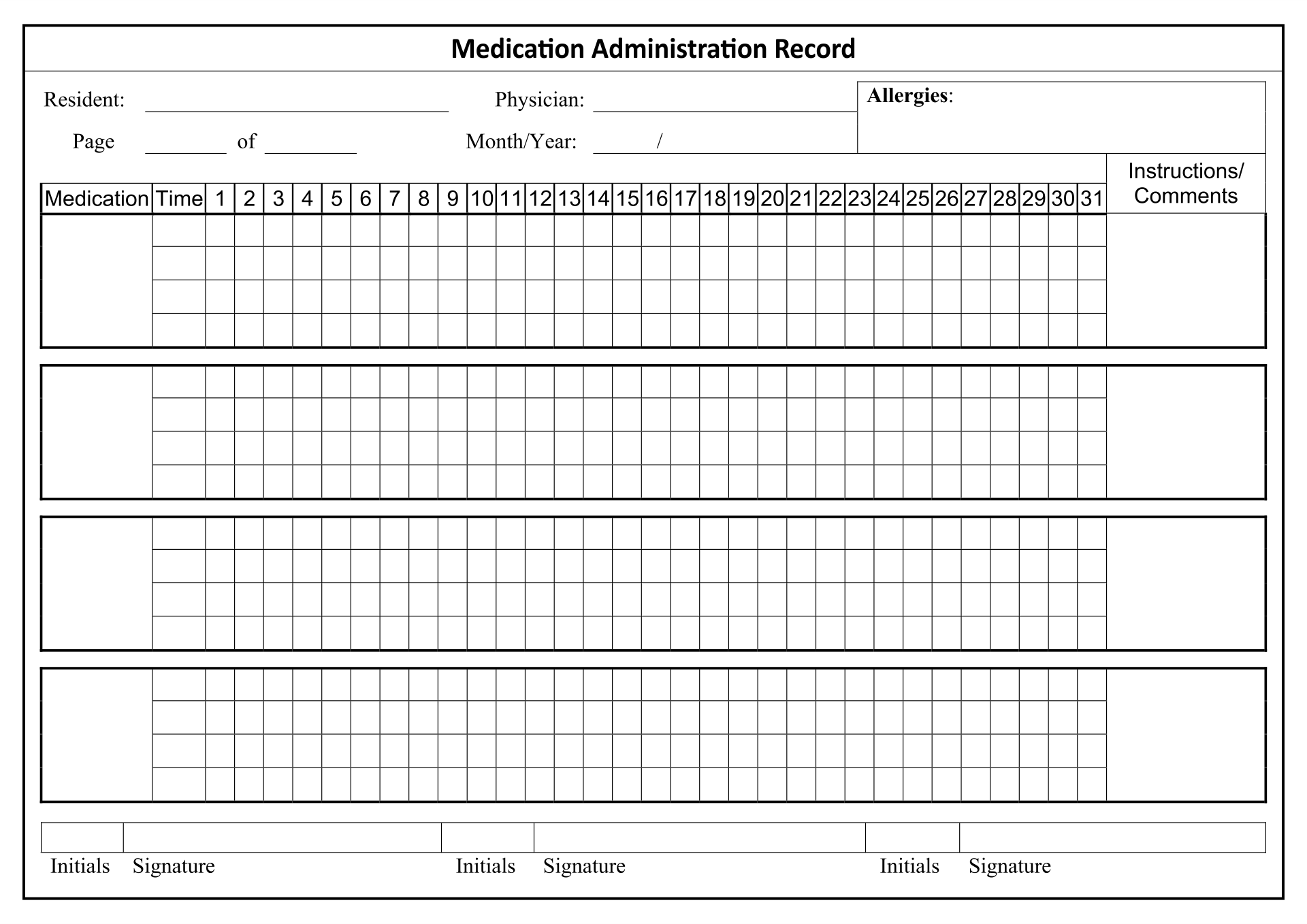 Medication Administration Record Sheet