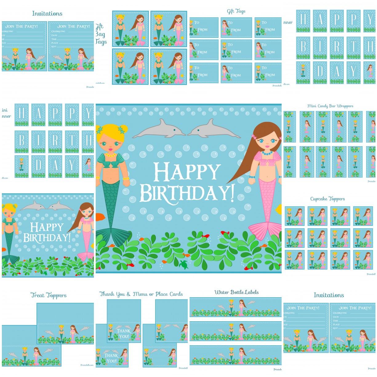 5 Images of Mermaid Birthday Printables Free