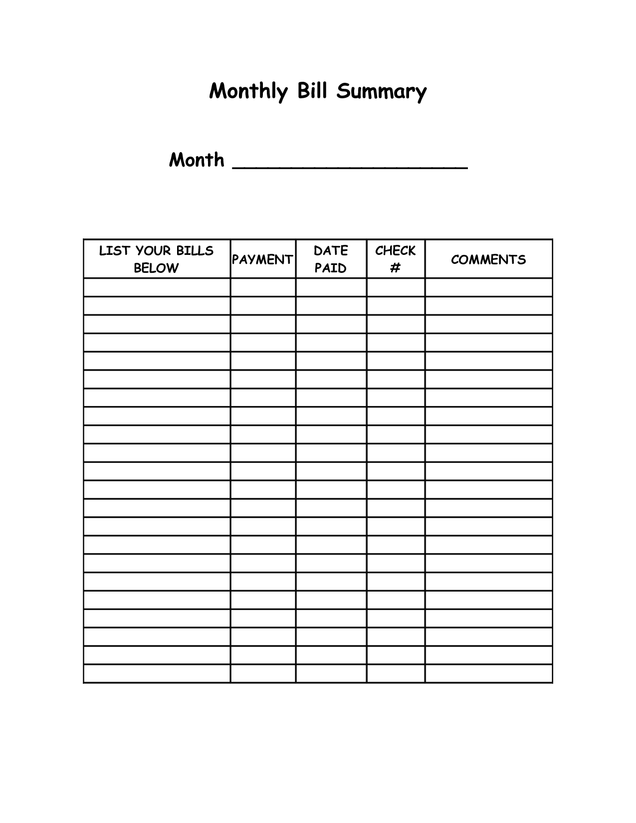 4 Images of Free Printable Monthly Bill Templates