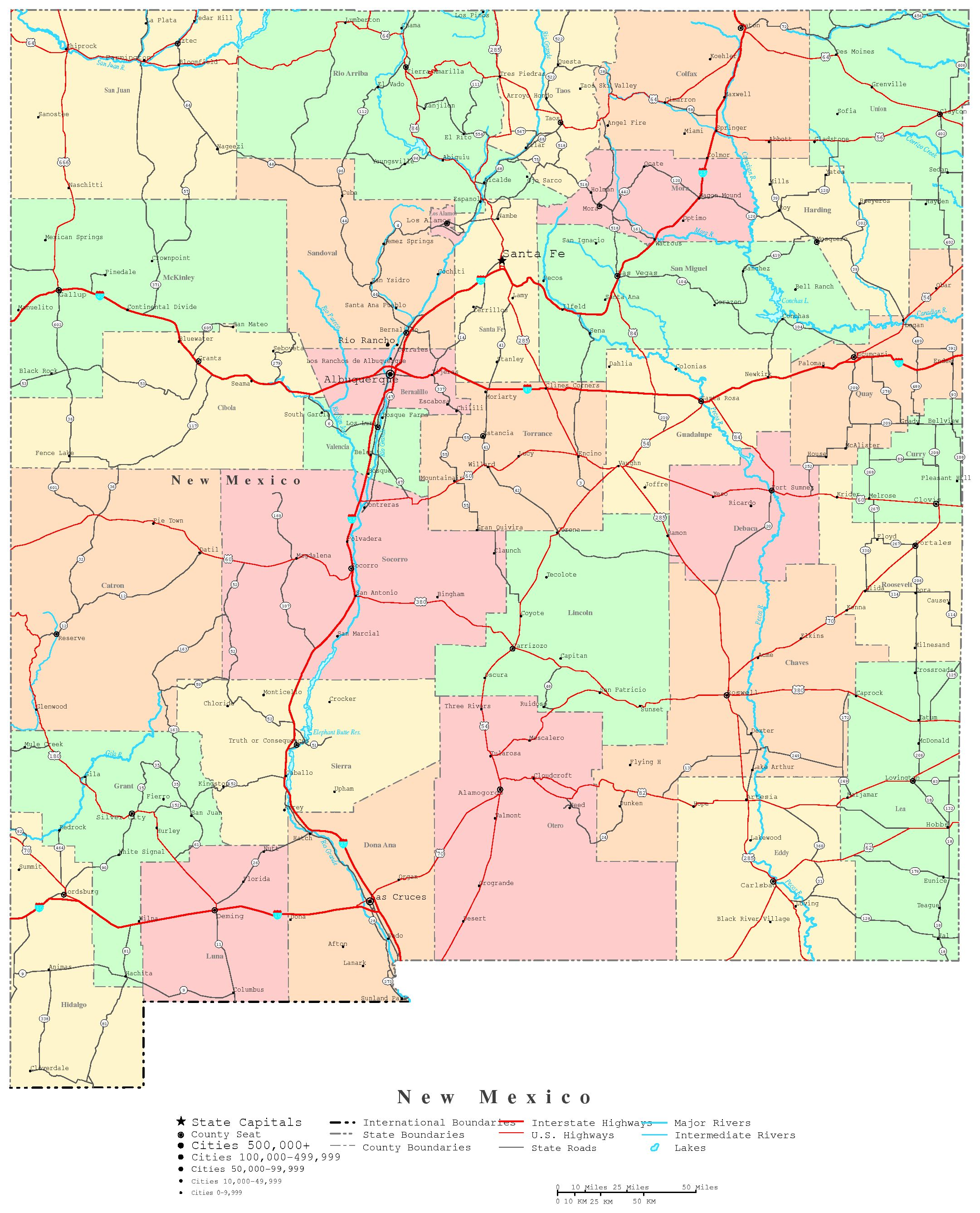 5 Images of Printable Map New Mexico
