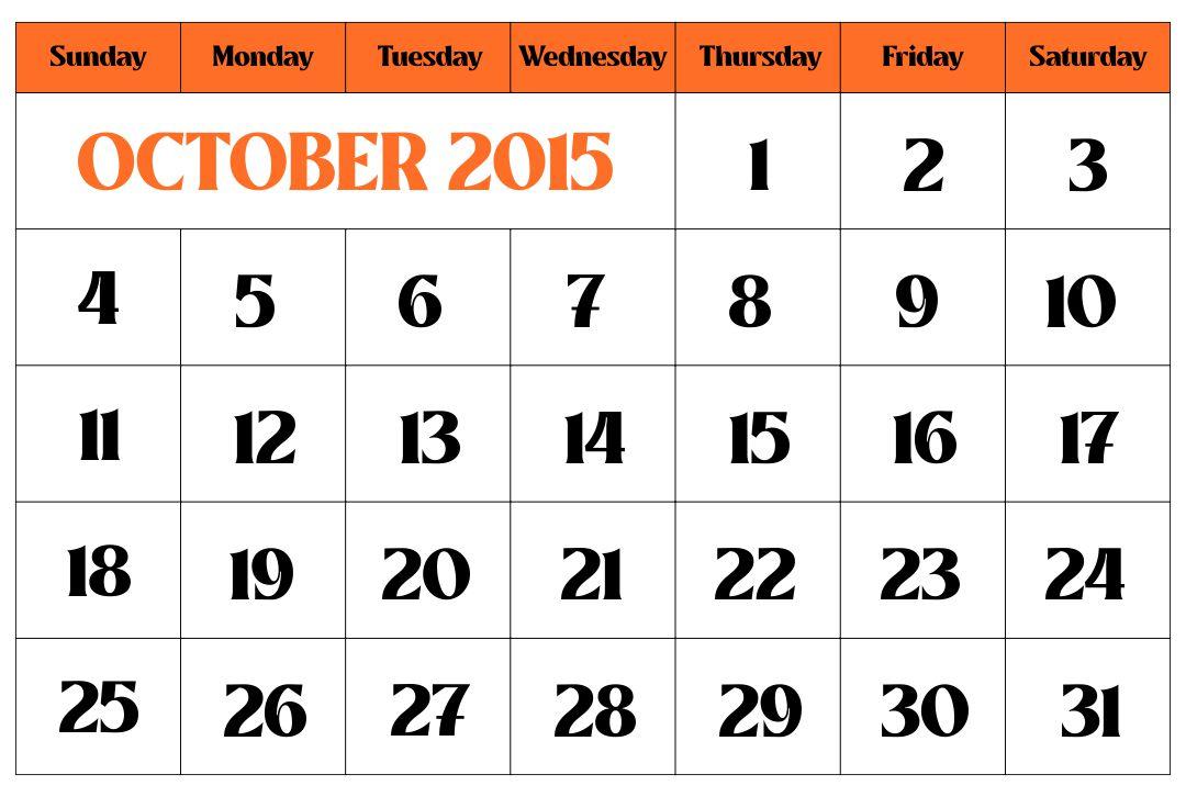 October 2015 Calendar Printable Template