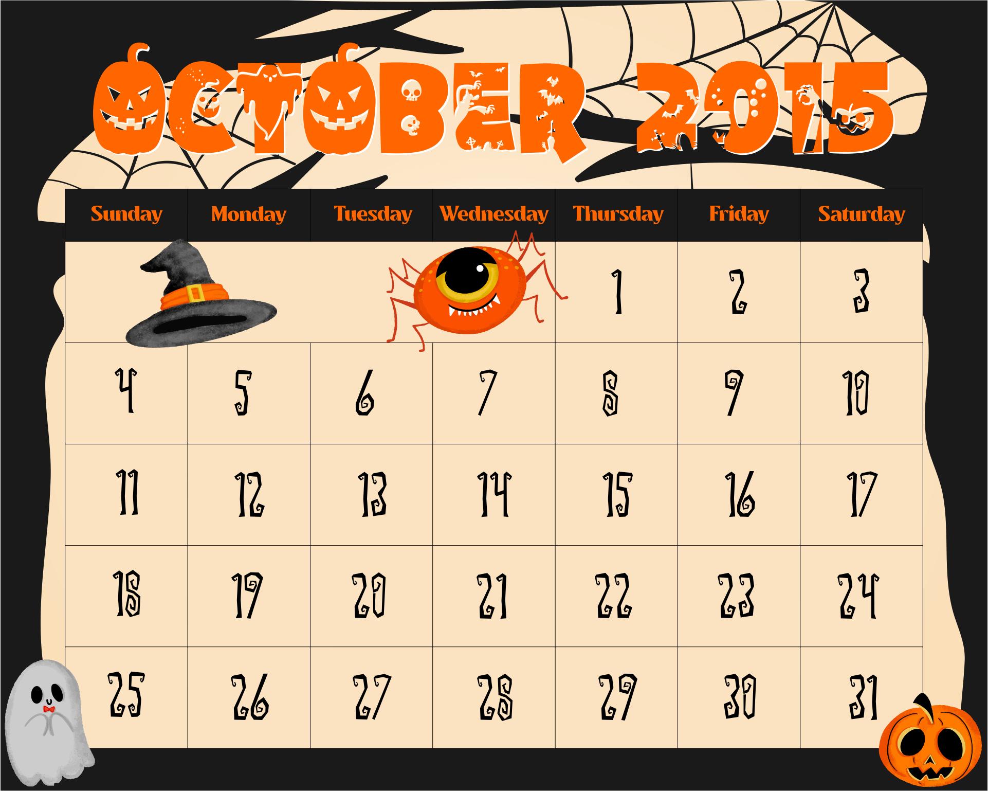 5 Best Images of 2015 Calendar Printable October Halloween - 2016 Halloween Calendar