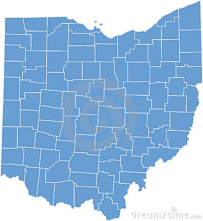 Ohio State Map with Counties