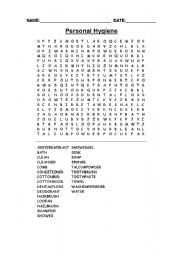 4 Images of Hygiene Word Search Printable