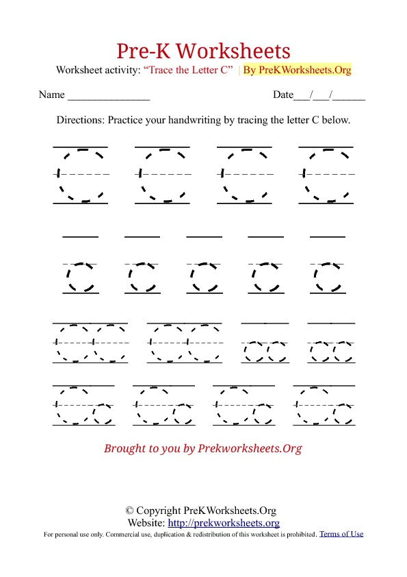 Worksheet Letter C Worksheets Preschool 5 best images of printable alphabet tracing worksheets preschool letter c via pre k tracing