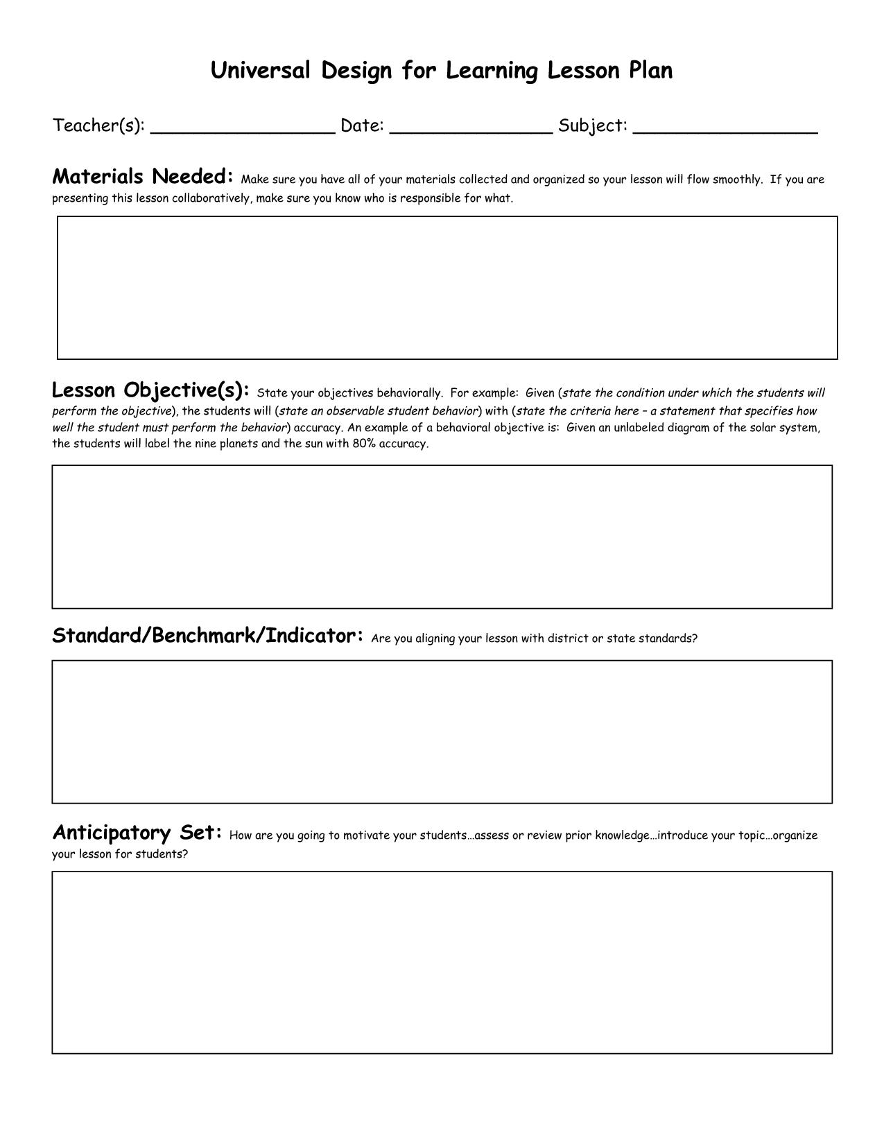 8 best images of kindergarten lesson plan template