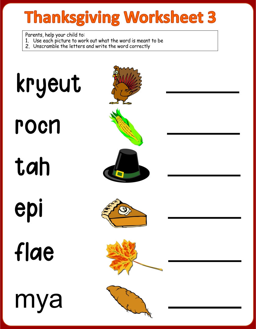 Number Names Worksheets turkey activities for kindergarten – Kindergarten Thanksgiving Worksheet