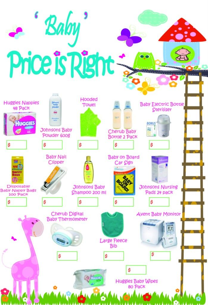 price is right baby shower free template price right baby shower game