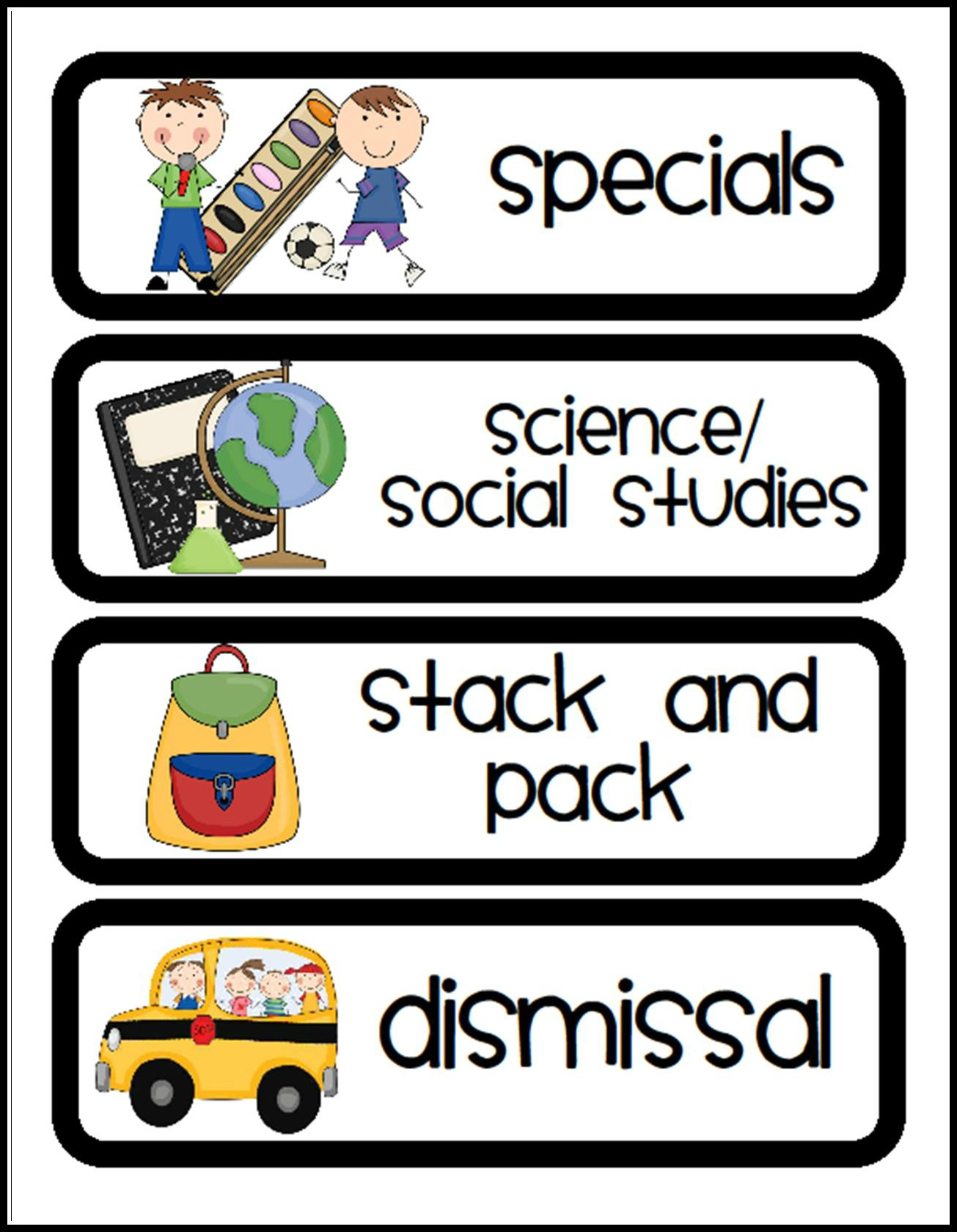 5 Images of Visual Classroom Schedule Printables