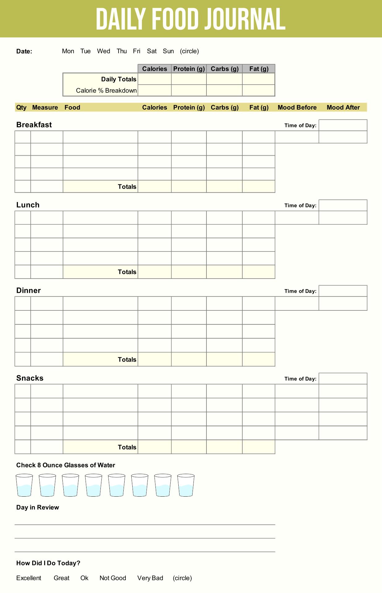 Printable Daily Food Log Template