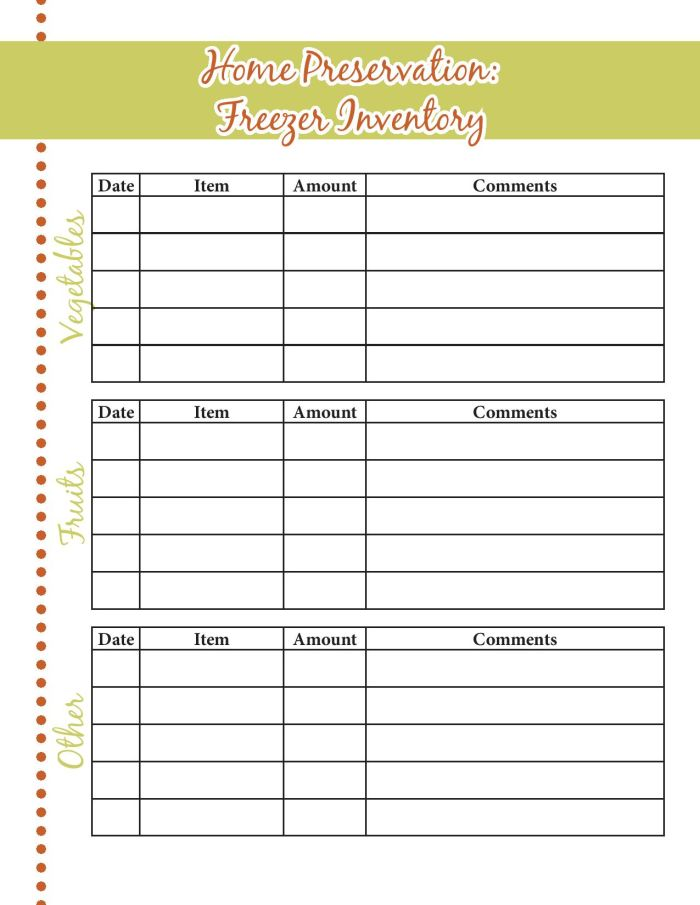 6 Images of Food Inventory Sheets Printable