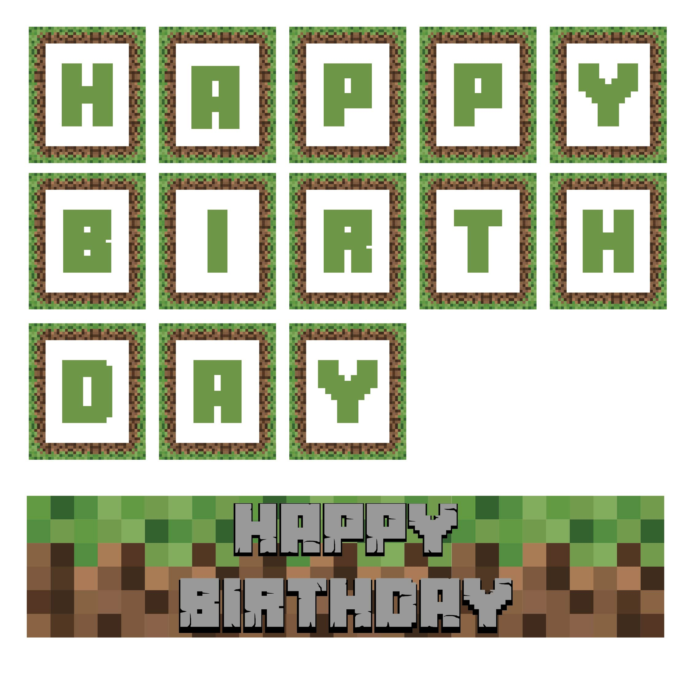 Printable Minecraft Party Decorations