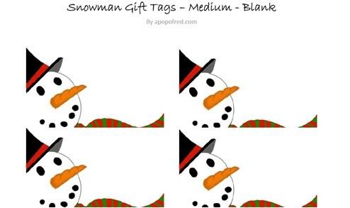 Printable Snowman Gift Tag