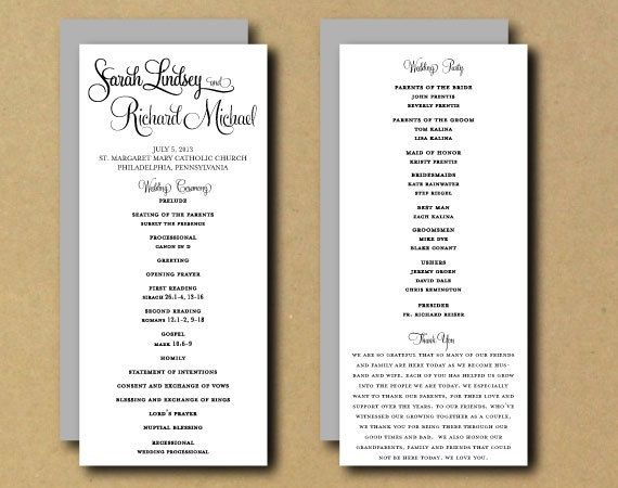 free sample wedding programs templates - 9 best images of free printable diy wedding programs