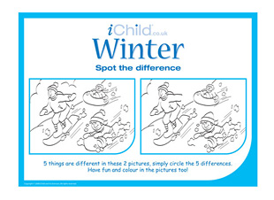 4 Images of Winter Printable Spot The Difference