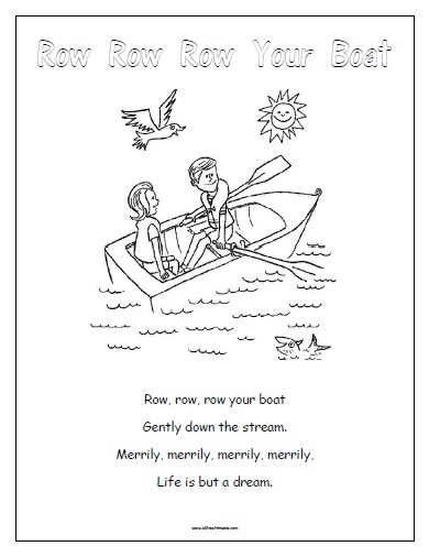 8 Images of Row Row Row Your Boat Nursery Rhyme Printables
