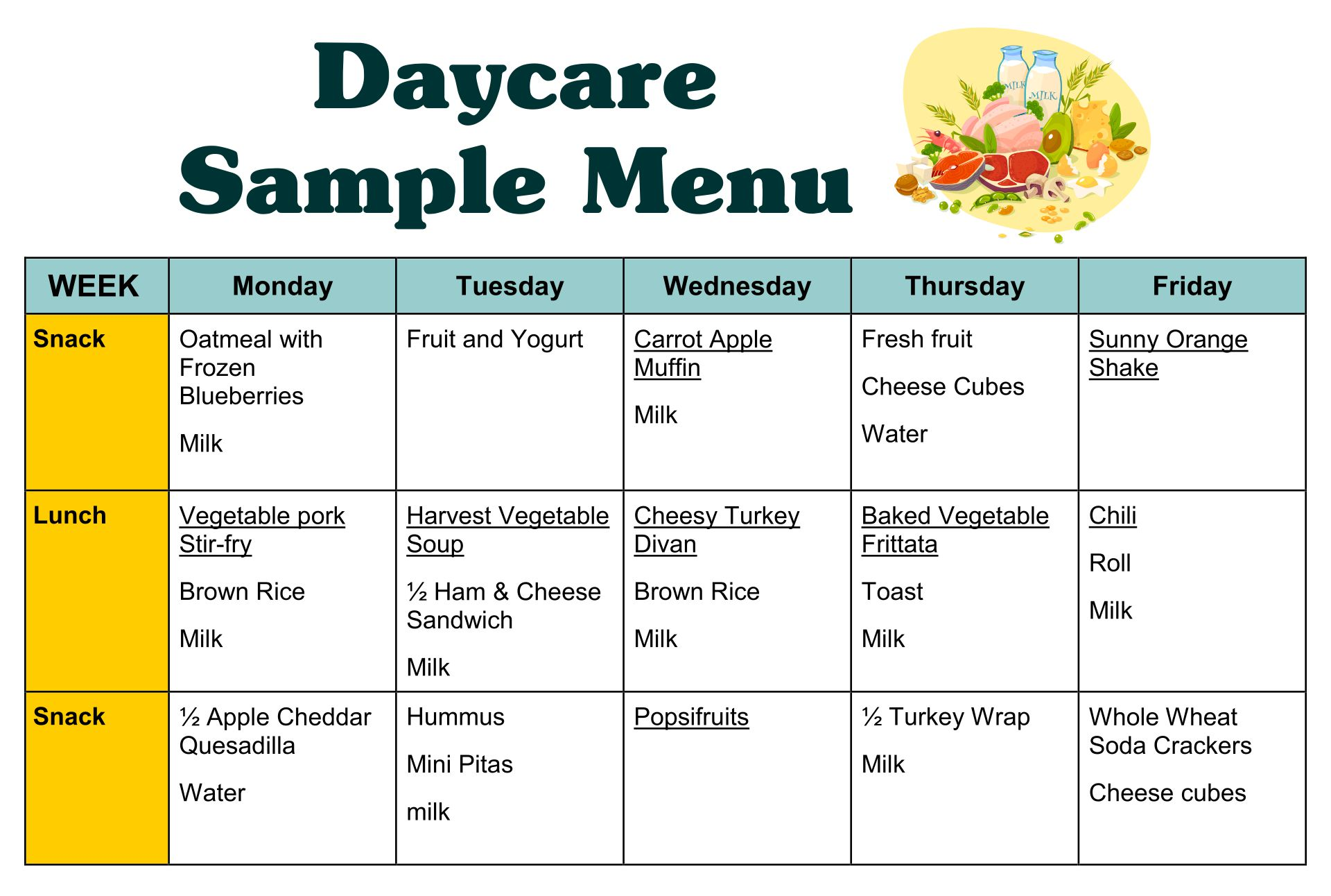 6 Best Images of Sample Daycare Menus Printable - Sample Daycare ...
