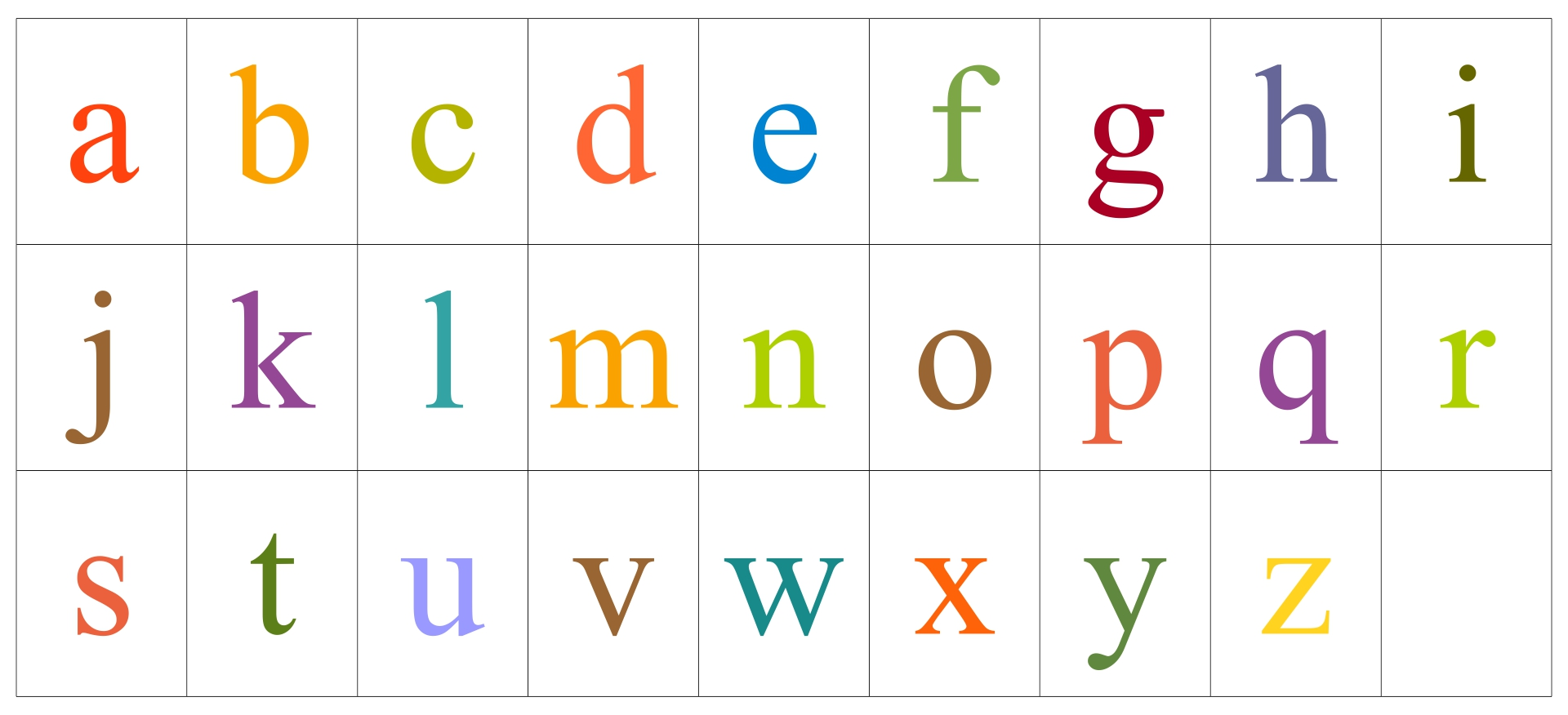 Small Alphabet Letters Printable PDF