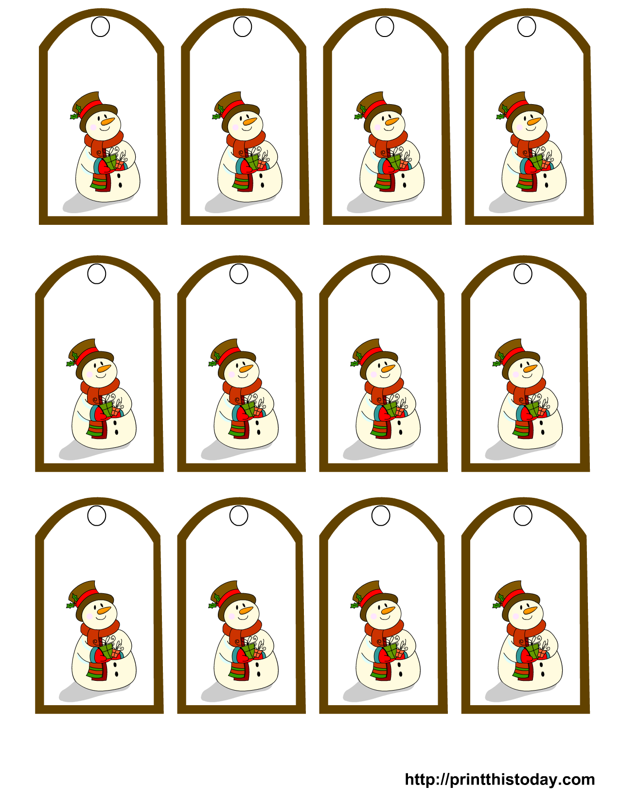 6 Images of Snowman Gift Tags Printable
