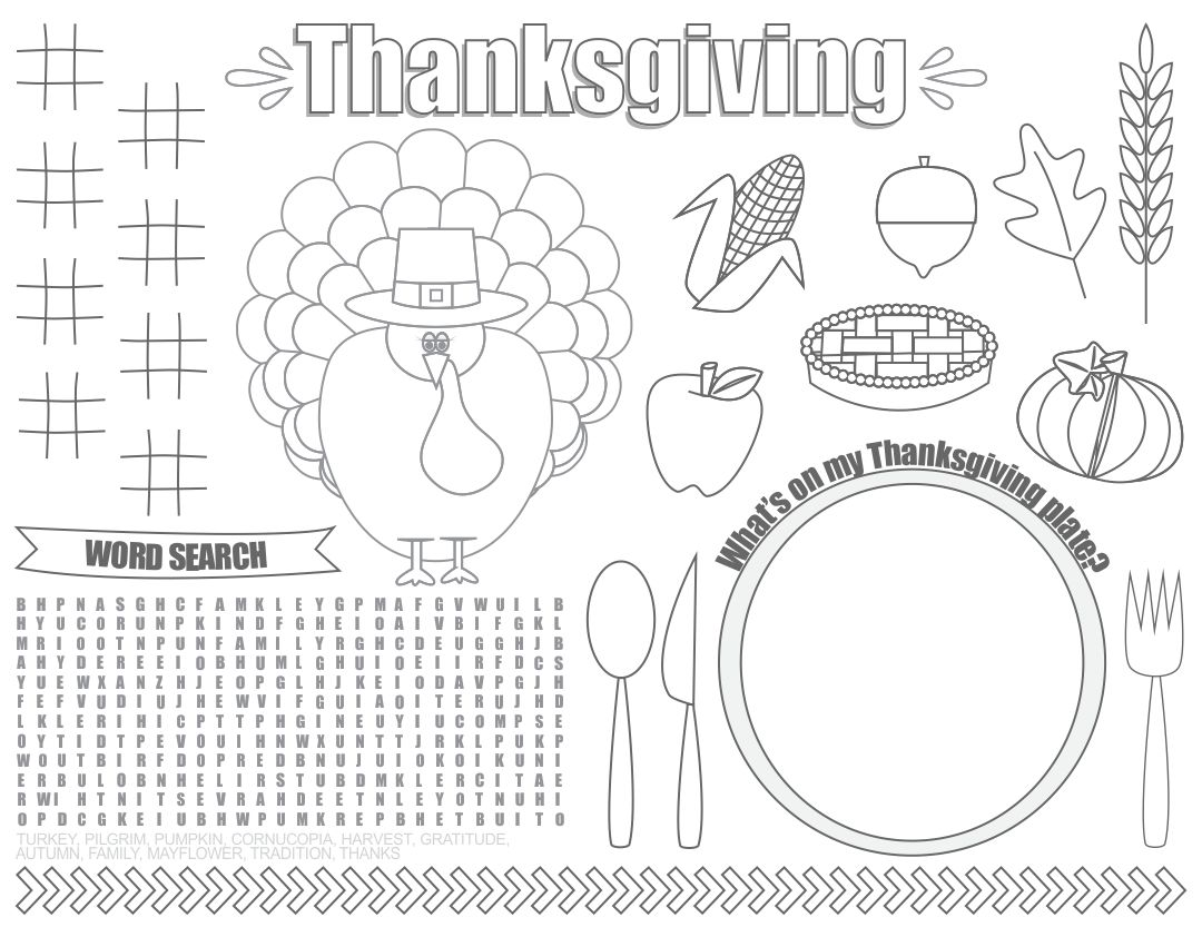 5 Images of Printable Thanksgiving Coloring Placemats For Toddlers
