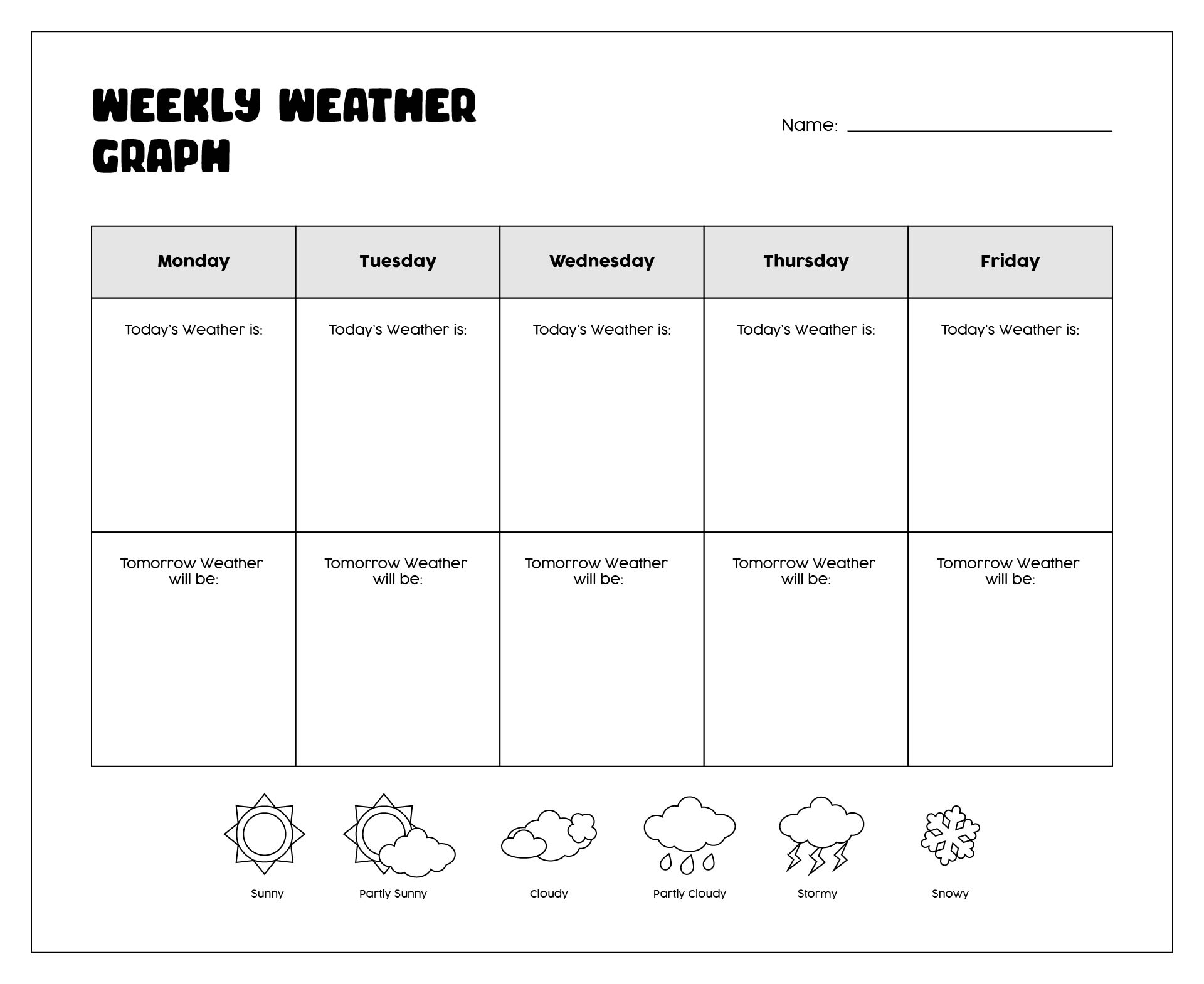 Weather homework ideas – Weather Worksheet for Kindergarten