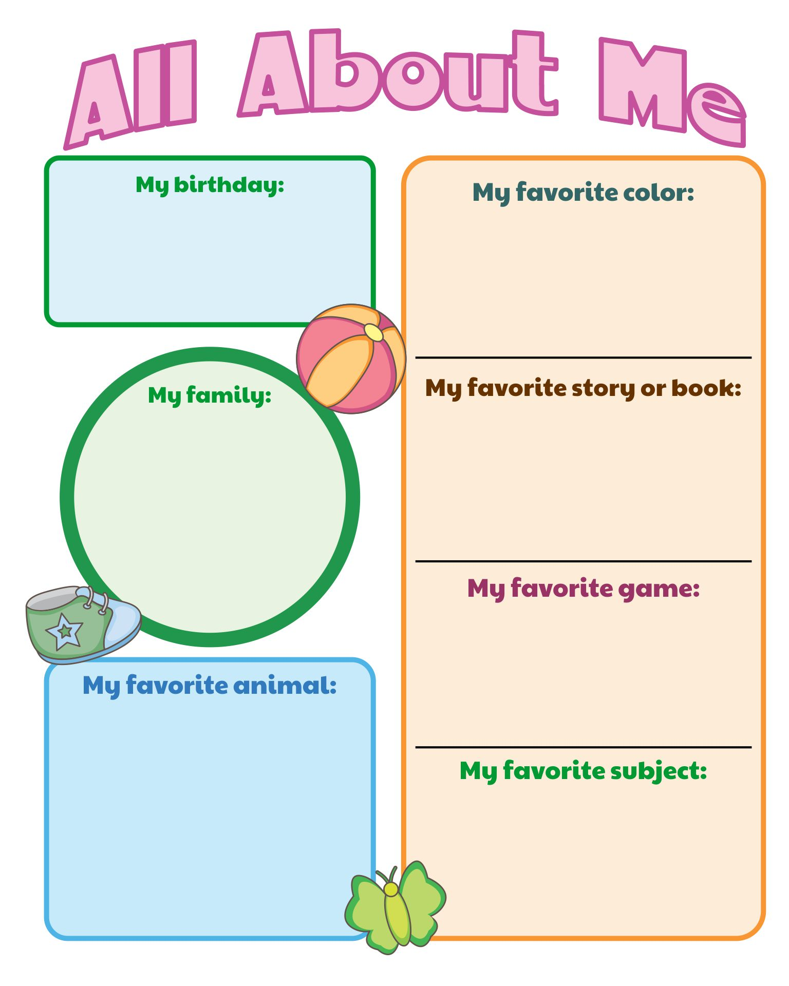 All About Me Worksheets Printables