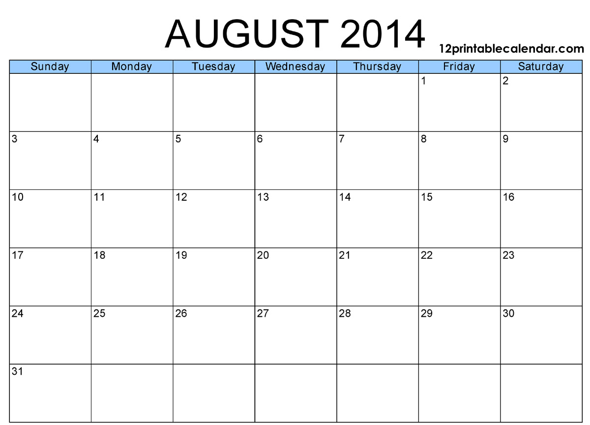 6 Images of Aug 2014 Calendar Printable