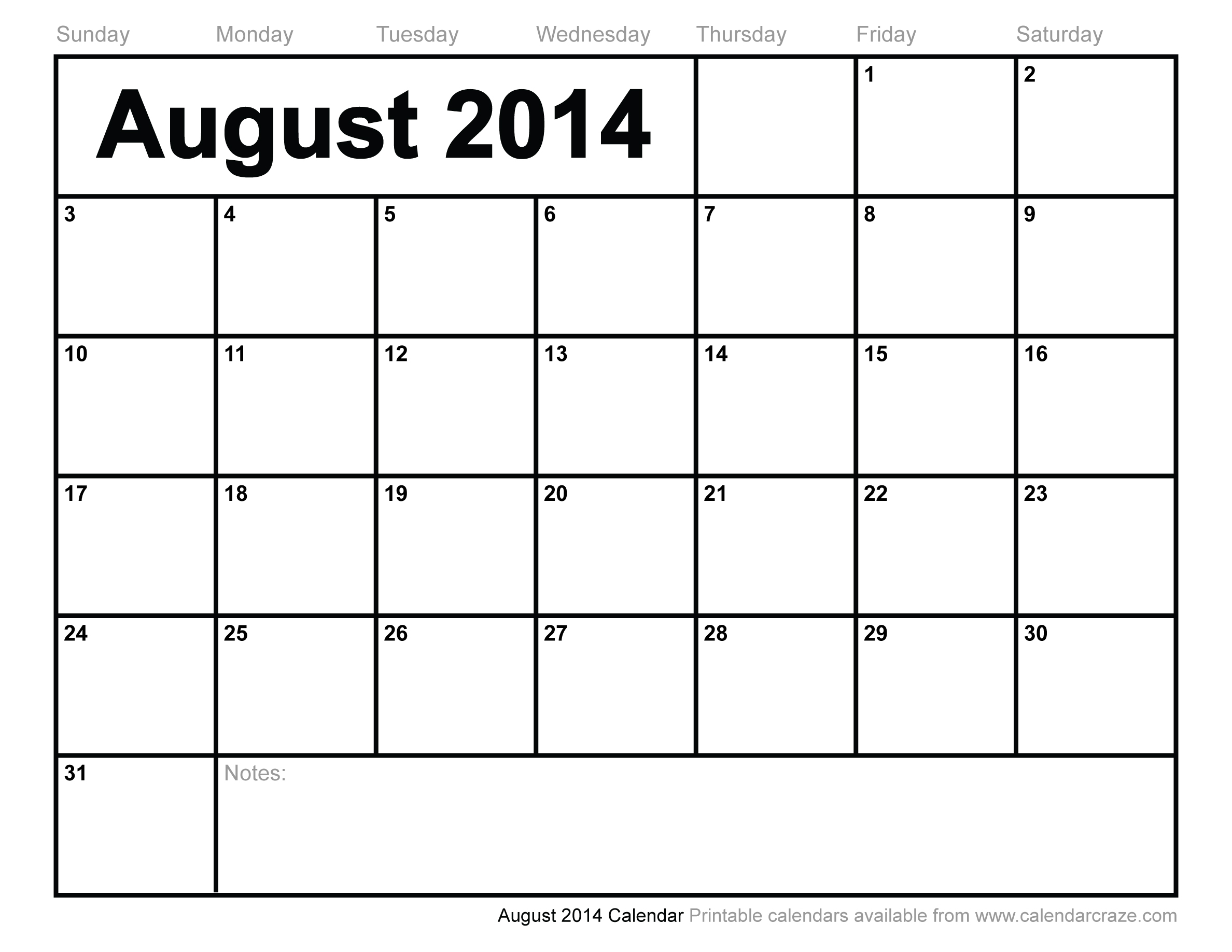 August Calendar 2014 : Best images of aug calendar printable august