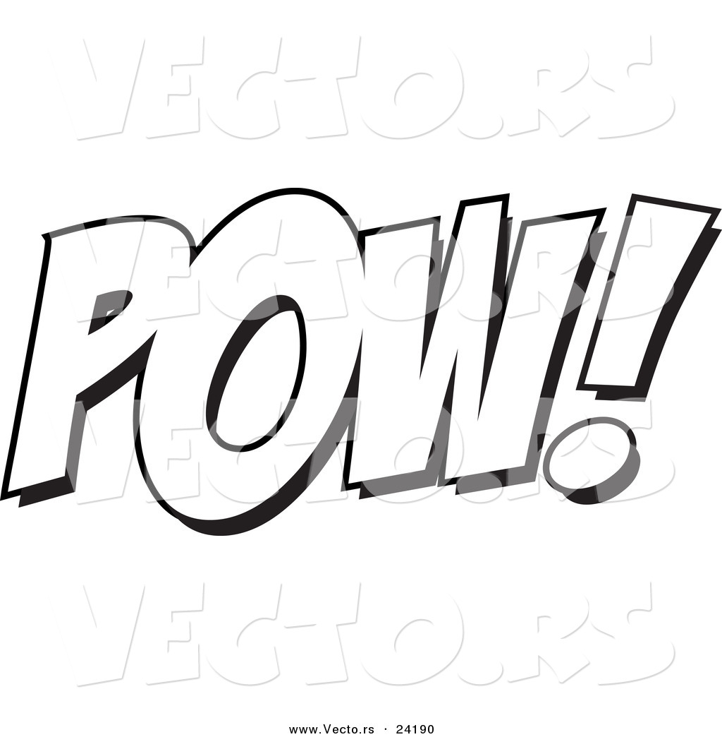 Coloring sheets with words - Words Printable Comic Pow Clip Art Coloring Page Superhero Action