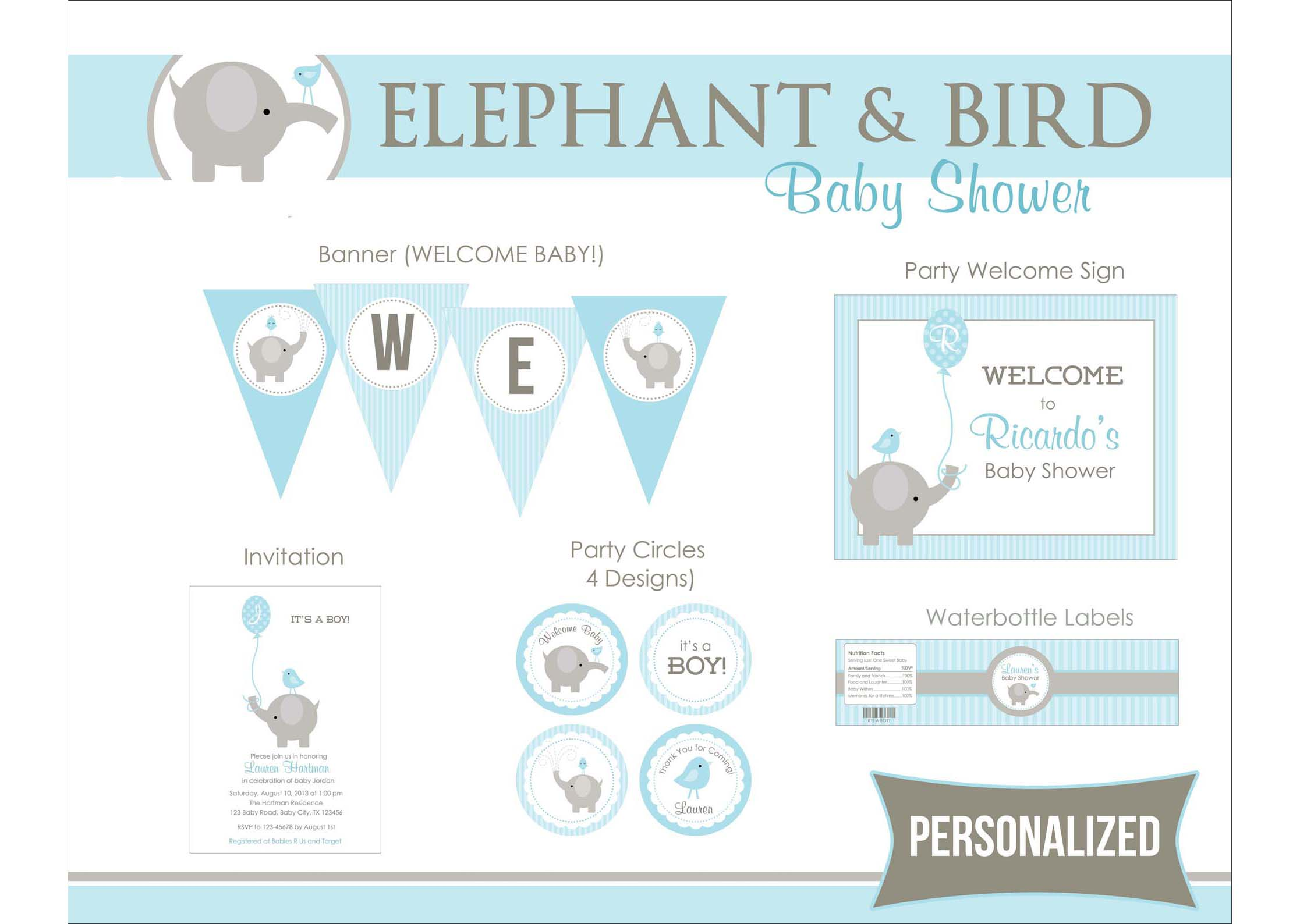 8 Best Images Of Elephant Boy Baby Shower Printables