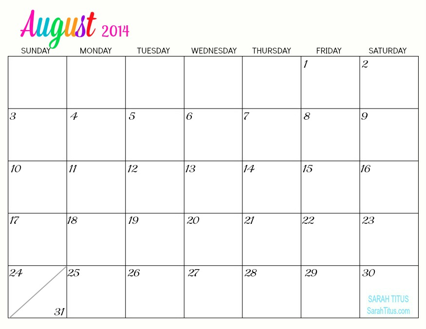 Best Images of Aug 2014 Calendar Printable - August 2014 ...