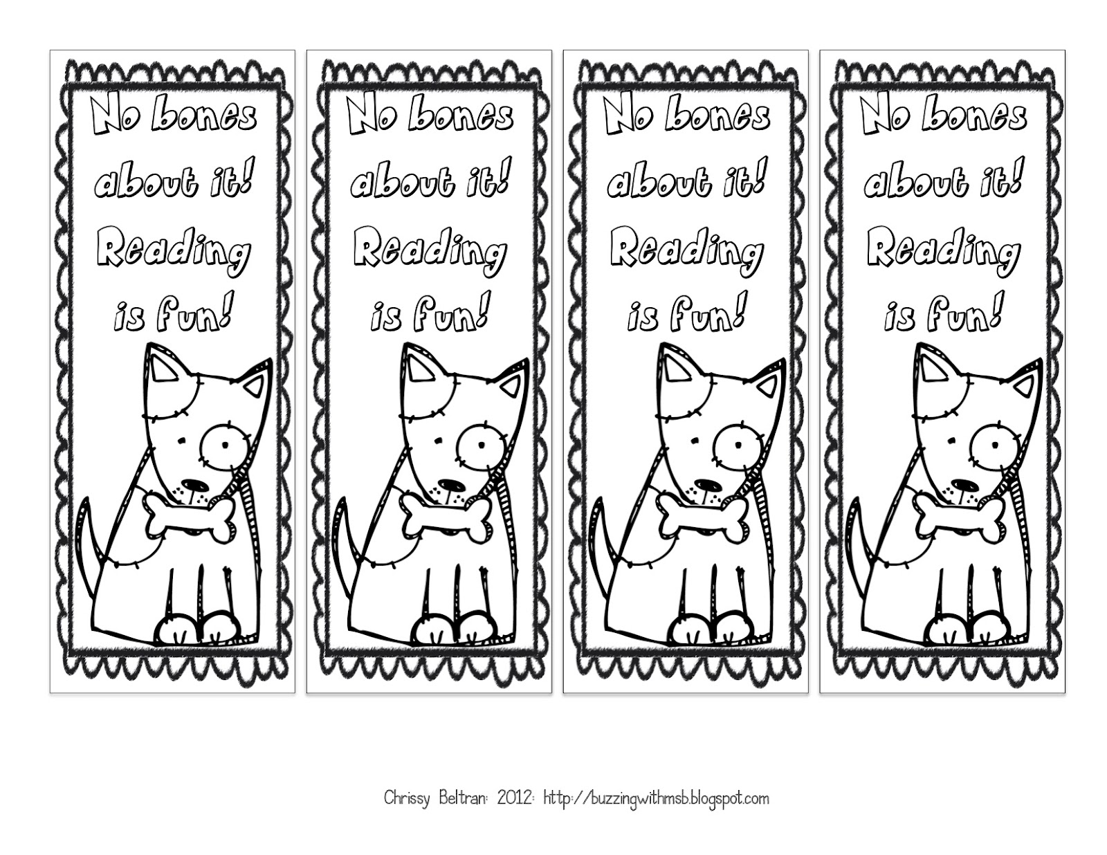 Free Printable Bookmarks Black and White