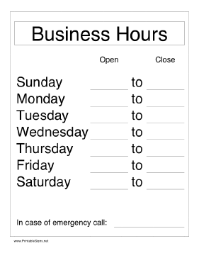 Free Printable Business Hours Signs