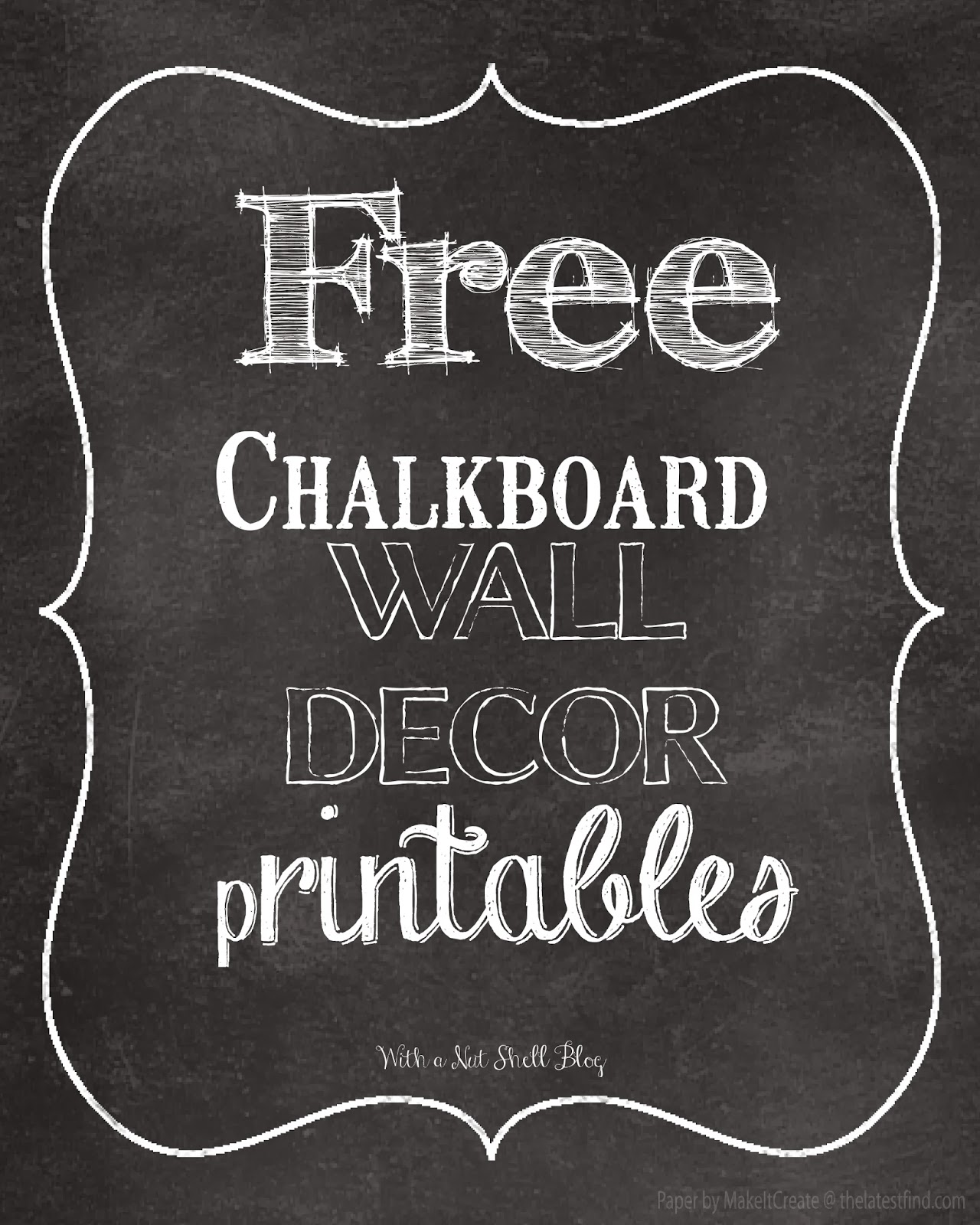 8 Images of Chalkboard Art Free Printables