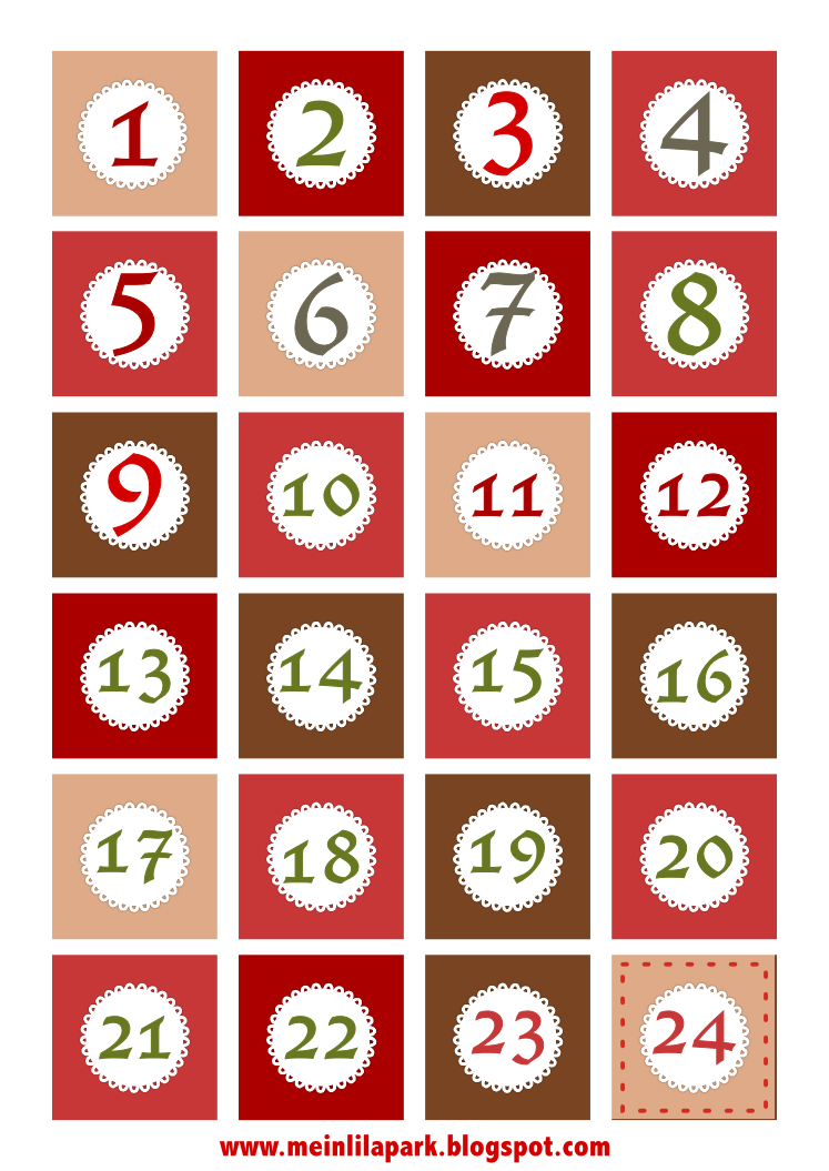 4 Images of Advent Countdown Number Printables