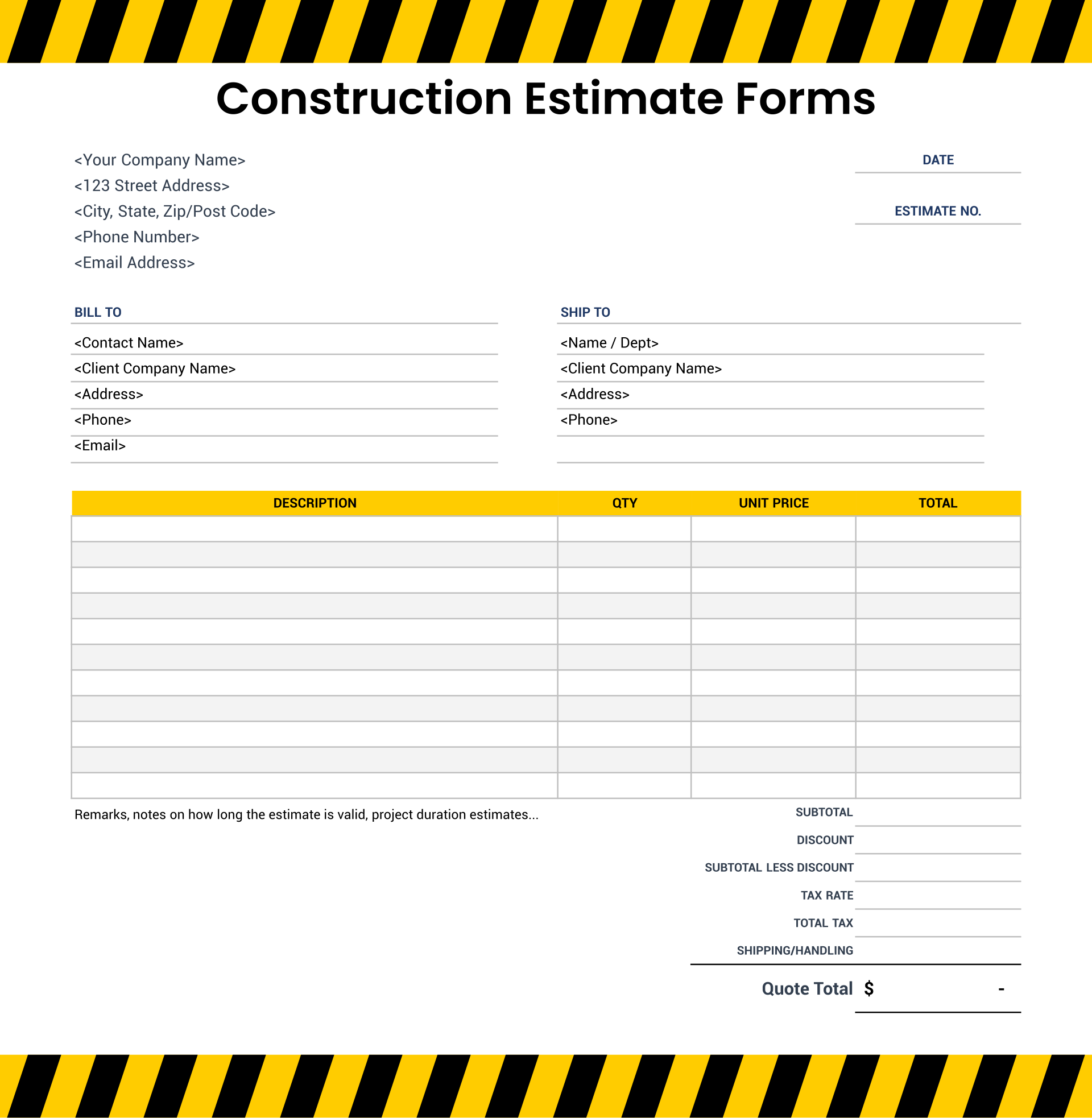 Printable Construction Estimate Forms