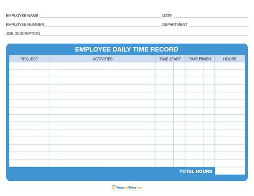 Daily Time Sheet – Printable Editable Blank Calendar 2017